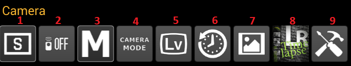Camera category buttons